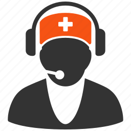 ambulance, call center, headset, hospital receptionist, medical, operator 911, speaker icon