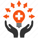 service, power, light, energy, hands, electric bulb, care icon