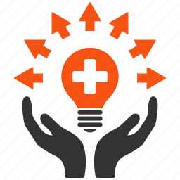 care, electric bulb, energy, hands, light, power, service icon