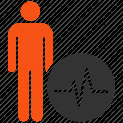 ecg, health care, heart pulse, man, measure, meter, person icon
