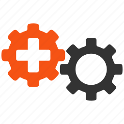 gears, health care, job, medical, process, task, technology icon
