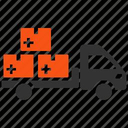 delivery, logistics, medical, medication, transport, transportation, truck icon