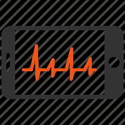 cardiogram, ecg, heart pulse, medical graph, medicine, mobile cardiology, phone icon