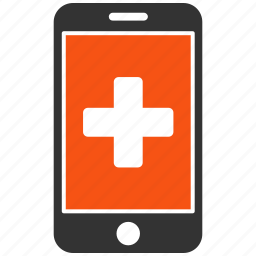 healthcare, medical cross, medicine, mobile, phone, screen, smartphone icon