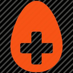 add, create, creation, egg, medical cross, new, plus icon