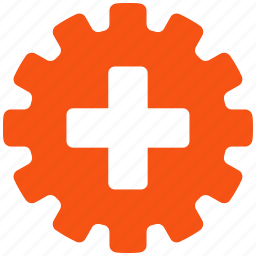 add, gear, industry, medical cross, new, service tools, settings icon