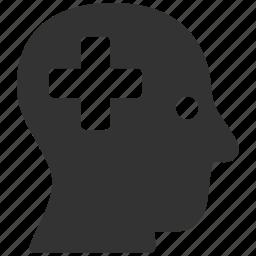 add, head, medical cross, memory, mind, plus, think icon