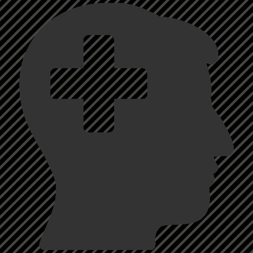 add, head, medical cross, memory, mind, plus, profile icon