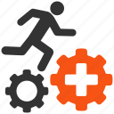 exercise, gears, runner, task, training, treatment process, work icon