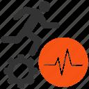 cardiogram, cog, heart pulse, heartbeat, man, work, worker icon