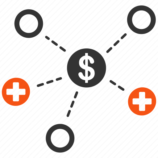 doctor, financial, links, medical network, medicine, relations, structure icon