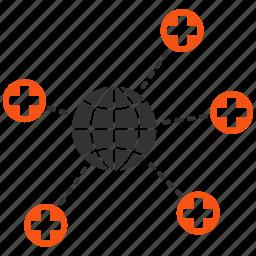 earth, global links, globe, hospital, medical network, medicine, world icon