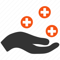 health care, hospital, medical offer, medicine, palm, safety, service hand icon
