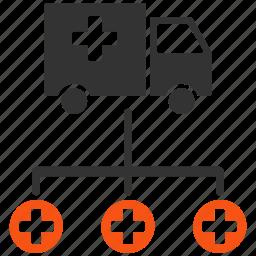 delivery, health, hospital, medical transport, medicine, structure, transportation icon