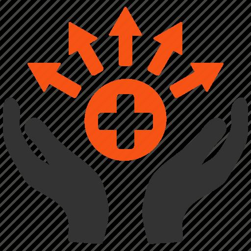 distribution, hands, health care, hospital, medical, medicine, source icon