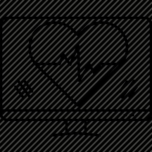 ehealth, healthcare, heart, heartbeat, online icon