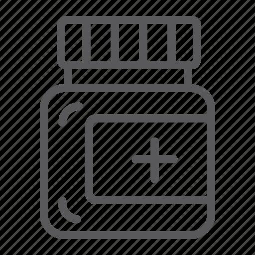 bottle, care, drug, medical, medicine, ointment, pill icon