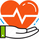care, heart, hand, health, healthcare, heart rate, prevention icon