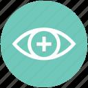 eye, eye test, medical, plus, view, vision icon