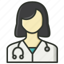 female doctor, lady doctor, nurse, physician icon