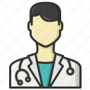 doctor, male doctor, physician, stethoscope icon