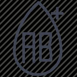 ab, blood, health, medical, medicine, positive, type icon