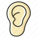 ear, healthcare, hear, human ear, medical, organ, sound icon