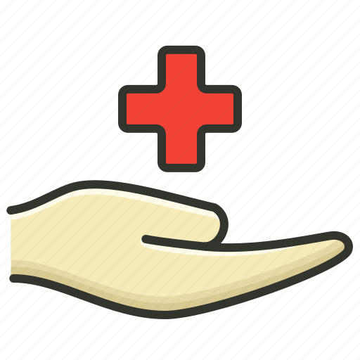 hand with plus, health, healthcare, medical icon