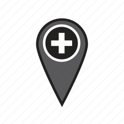 address, doctor, hospital, location, map, medical, pin icon