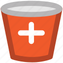 ice bucket, medical bucket, medical pail, sandbox, water bucket icon