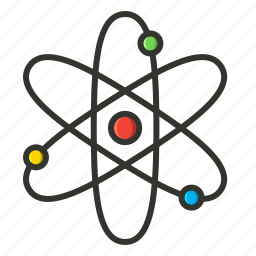 atom, medical, nuclear, physics, proton, quantum, science icon