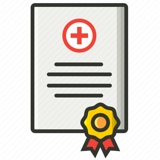 certificate, health report, medical certificate, medical license, medical record icon