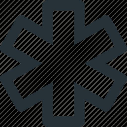asterisk, medical, pharmacy, star, star of life icon