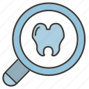 dental, magnifier, tooth icon