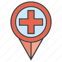 hospital, location, medical, pin icon