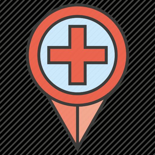 hospital, location, medical, pin icon
