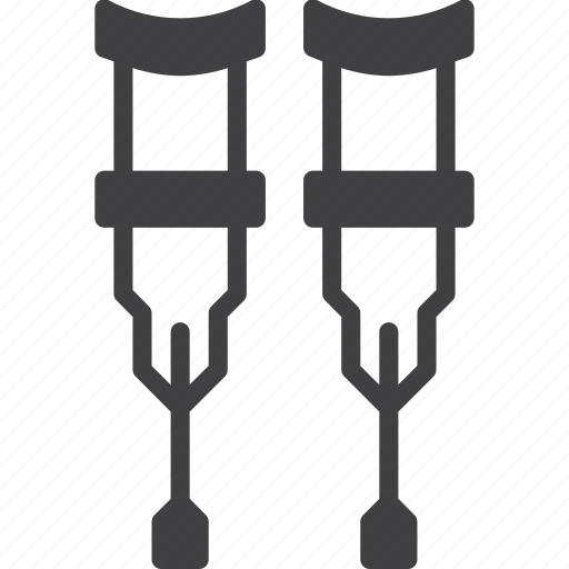 crutches, disabled, handle icon