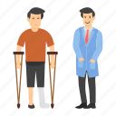 crutches, disbaled person, injured person, leg injury, mobility aid, walker, walking aid