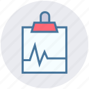 clinic file, clip paper, clipboard, medical document, medical report icon