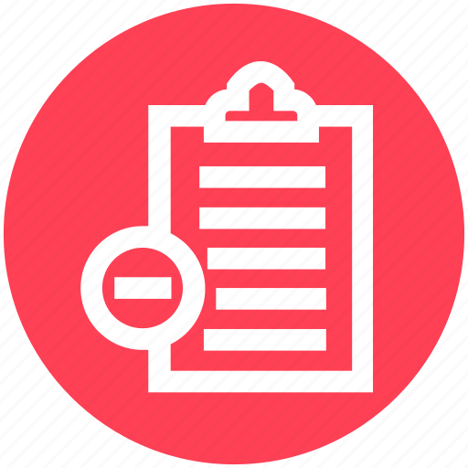 .svg, clipboard, delete, papers, remove, report, sheet icon