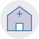 clinic, dispensary, hospital, medical building, medical centre, sick bay icon