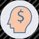dollar, head, idea, money, thinking icon