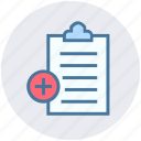 add, clipboard, education, learning, papers, plus icon