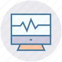 computer monitor, display, heart screen, medical screen, monitor, screen icon