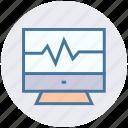 computer monitor, display, heart screen, medical screen, monitor, screen icon