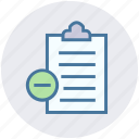 clipboard, delete, papers, remove, report, sheet icon