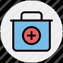 first aid box, first aid kit, hospital, medicine, medicine bag, urgency icon