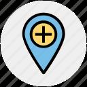 hospital map pin, location marker, location pin, location pointer, locator, map marker icon