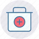 first aid box, first aid kit, hospital, medicine, medicine bag, urgency icon