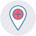 hospital map pin, location marker, location pin, location pointer, locator, map marker icon